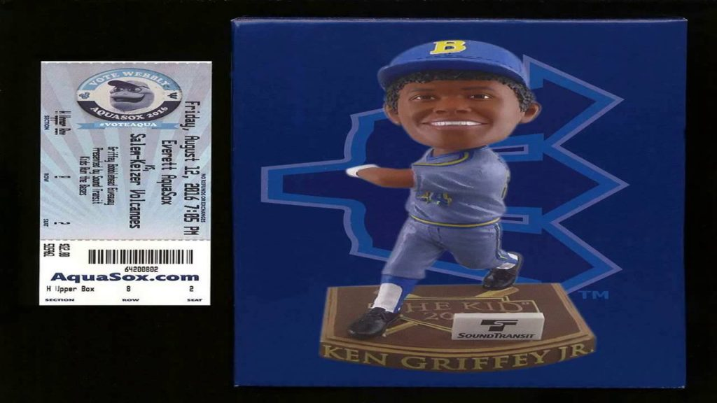 KEN GRIFFEY JR. BOBBLE HEAD DUAL MARINERS AND REDS WITH TICKET