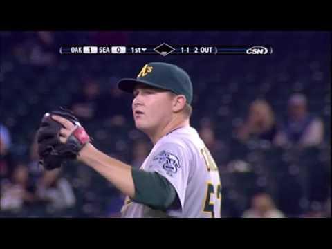 2008 Athletics: Trevor Cahill picks off Chone Figgins vs Mariners (10.1.10)