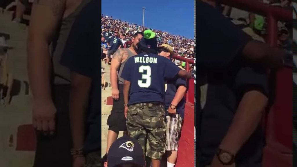 HILARIOUS! MAN SCREAMS HELP HELP AT RAMS VS SEAHAWKS NFL FOOTBALL GAME WHEN A FIGHT BREAKS OUT