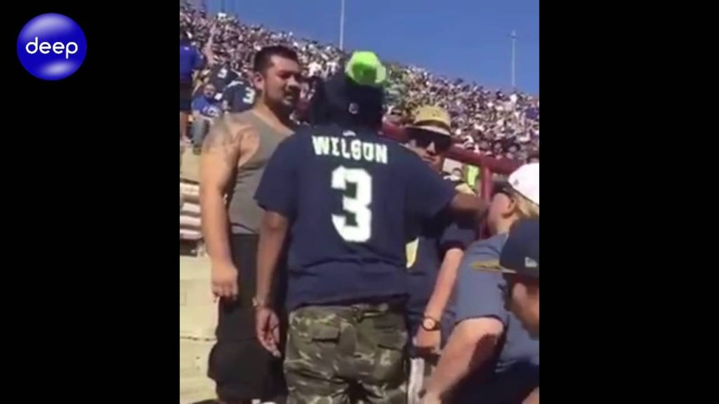 LOS ANGELES RAMS & SEAHAWKS FANS BRAWL AT THE COLISEUM VIDEO