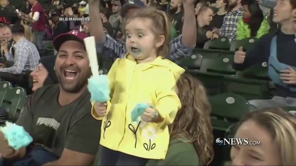 CUTE! This 3 year old die hard Seattle Mariners fan loses it when Adam Lind hit a grand slam!