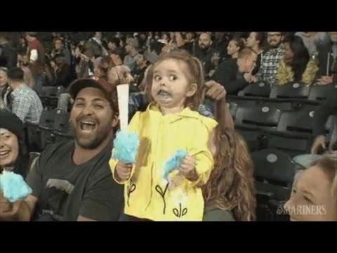 Funny Little Girl Loses Her Mind Over Her Cotton Candy at Seattle Mariners Game