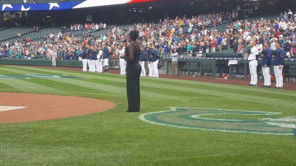 Shariffa Nyan Sings National Anthem for Seattle Mariners