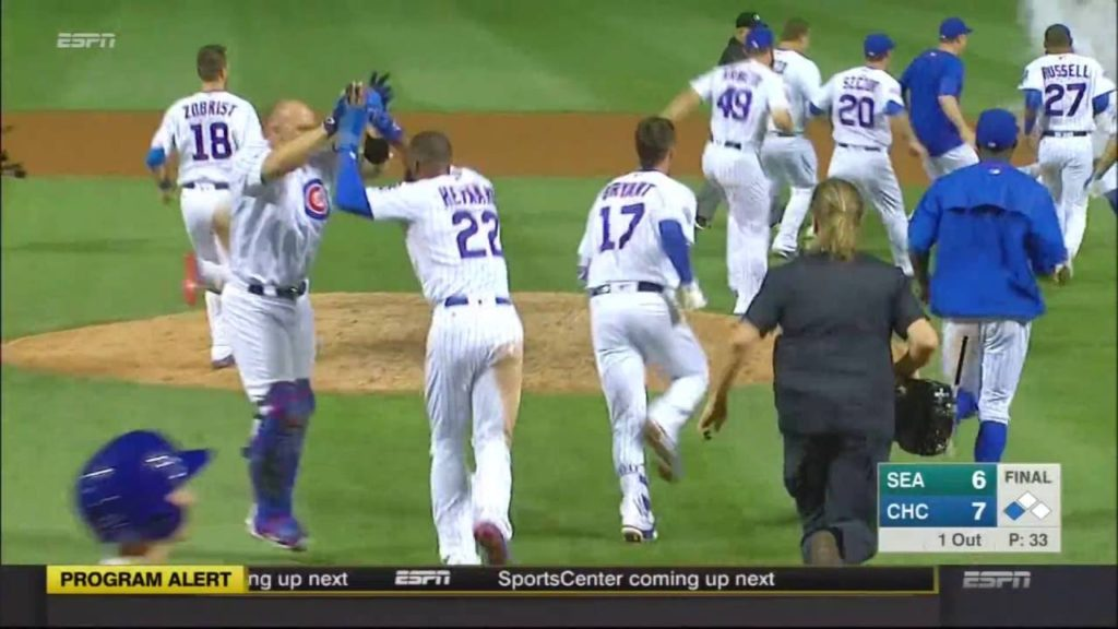 Cubs win on a walk-off bunt by Jon Lester