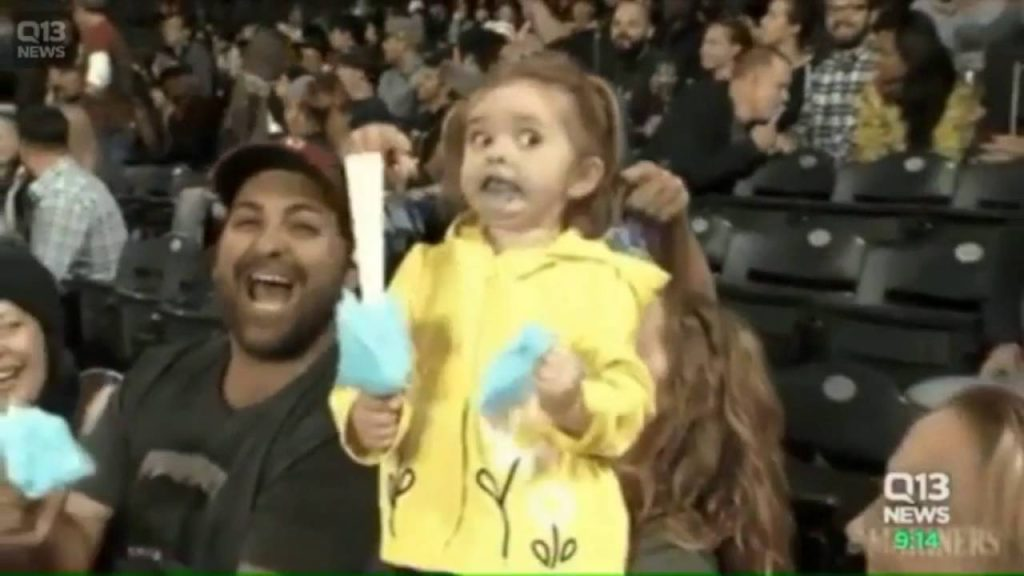 Little girl freaks out trying cotton candy at baseball game