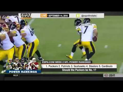 ESPN First Take Today 9 14 2016   NFL ranking   Packers, Patriots, Seahawks, Steelers & Cardinals