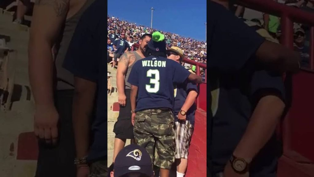 Hilarious! Man screams HELP HELP at rams vs seahawks NFL Football game when a fight breaks out.