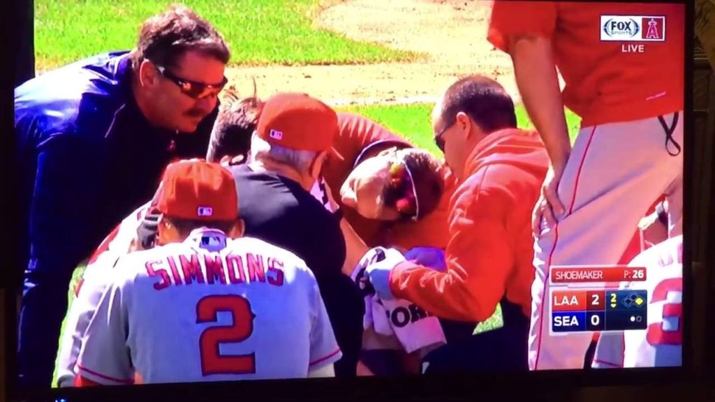 Matt Shoemaker HIT IN HEAD with line drive – MAY BE DISTURBING TO WATCH!!