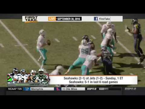 ESPN FIRST TAKE 9 30 2016 SEAHAWKS CONFIDENT RUSSELL WILSON WILL PLAY VS  JETS
