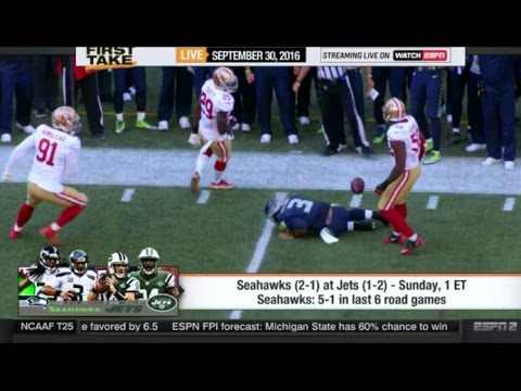 ESPN  First Take Today 9/30/2016 Seattle Seahawks vs. New York Jets – Who will win?