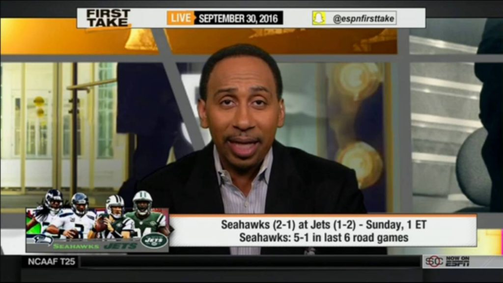 ESPN First Take 9/30/2016 – Jets: have not lost to Seahawks at home since 1983 (5 straight)