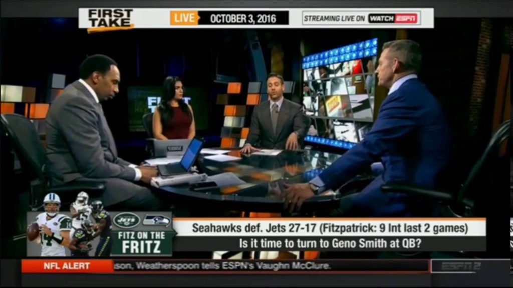 ESPN First Take 10/3/2016 – Seahawks def. Jets 27-17 Is it to turn to Geno Smith at QB?