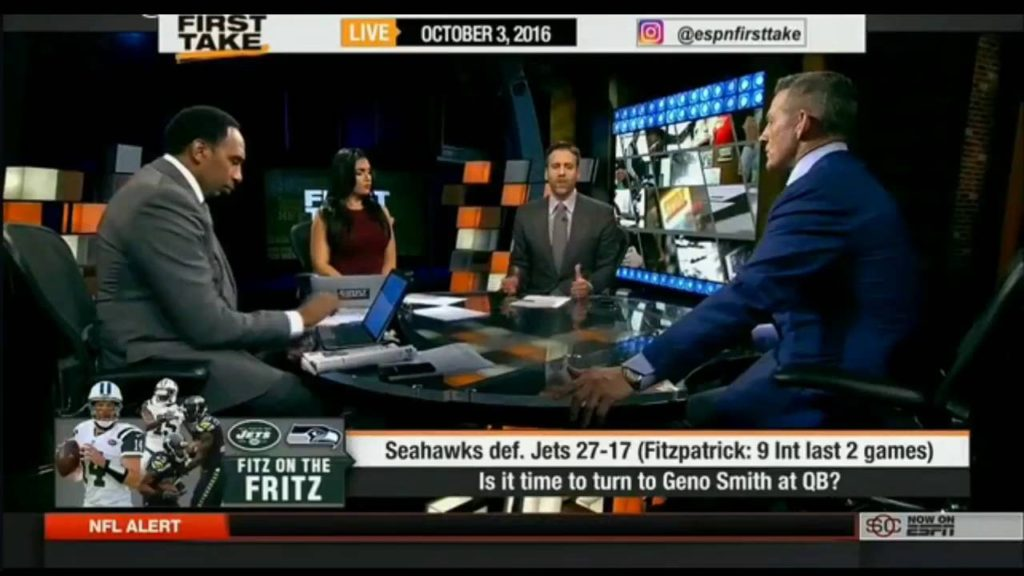 ESPN First Take Today 10/3/2016 – Seahawks def  Jets 27-17 Fitzpatrick  9 Int last 2 games
