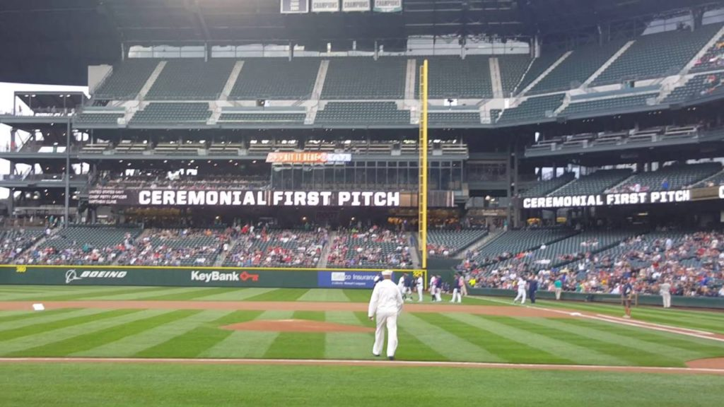CPO SELECT MATTHEW CLINE THROWS FIRST PITCH AT MARINERS GAME