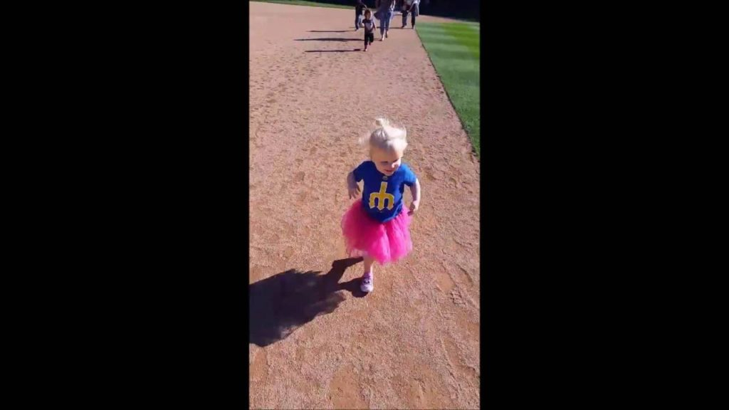 Emmy Runs Bases with Mariners Moose