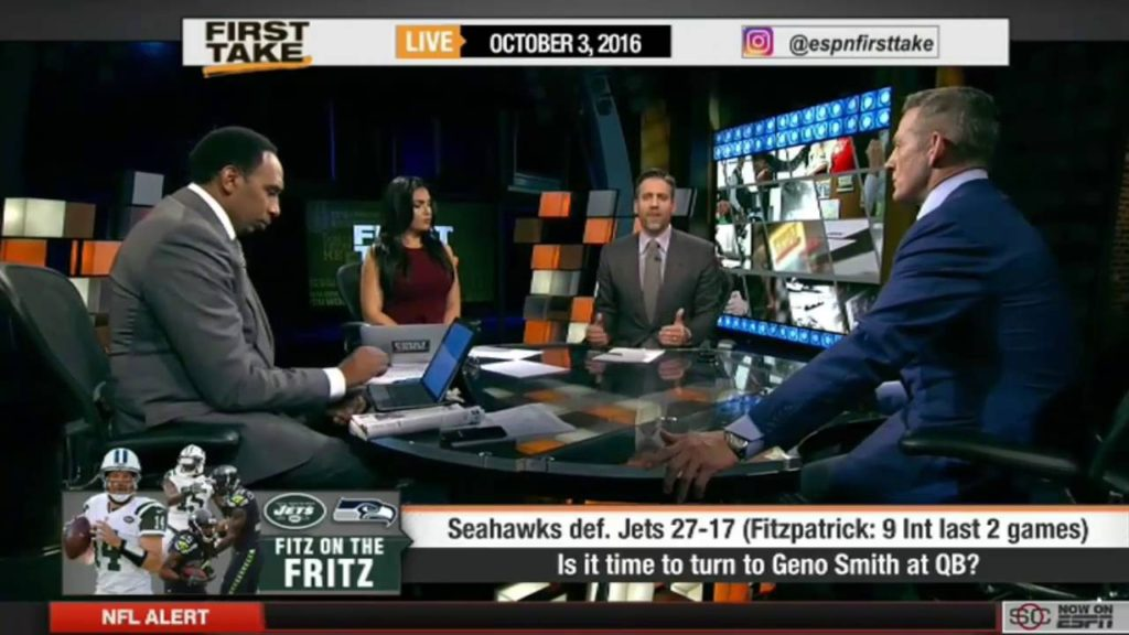ESPN FIRST TAKE 10 3 2016 SEATTLE SEAHAWKS 27 17 ROAD WIN VS NEW YORK JETS 15/