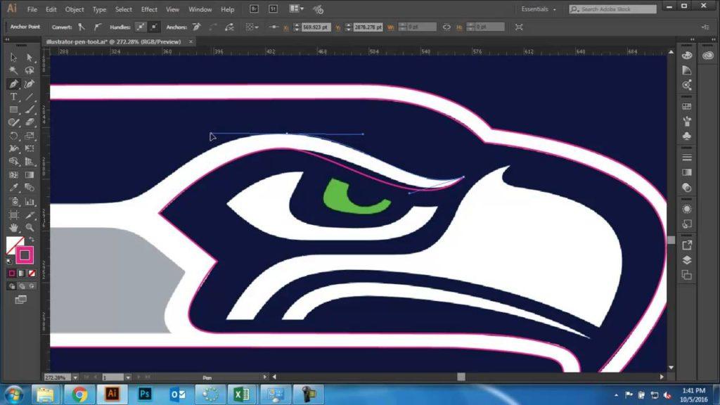 Illustrator Pen Tool – Seahawks Logo