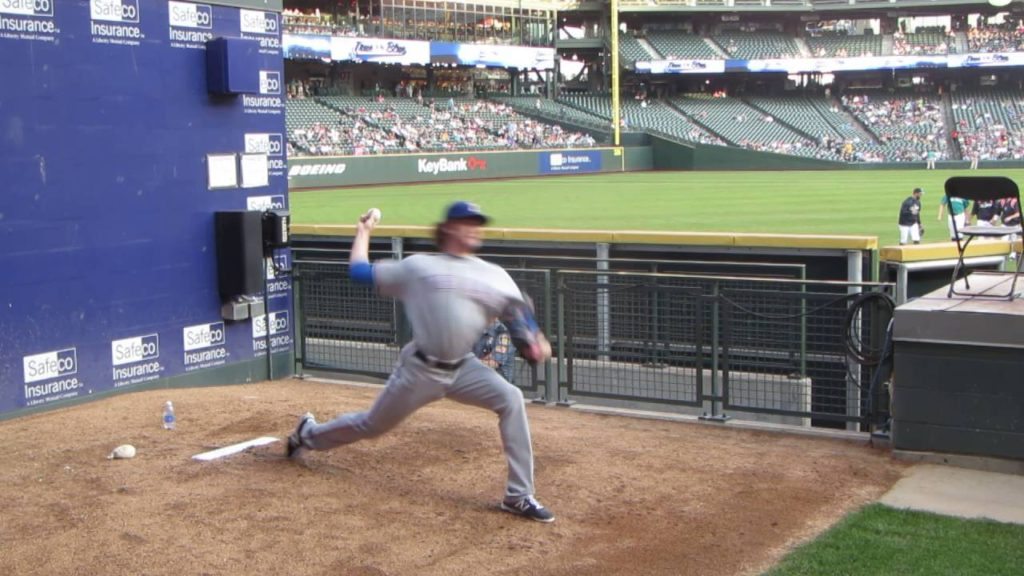 Miles Mikolas warming up prior to game vs Seattle Mariners on August 25, 2014