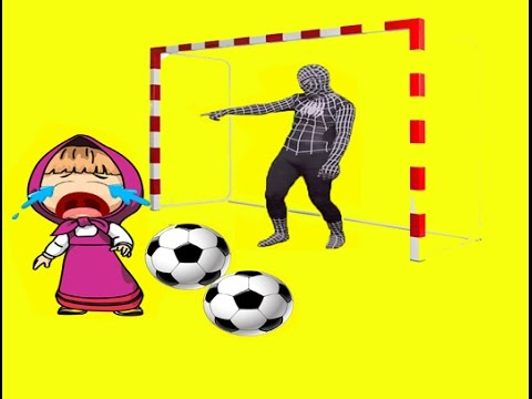 Red Spider Man Play Football With Masha And The Bear Candy Kids!