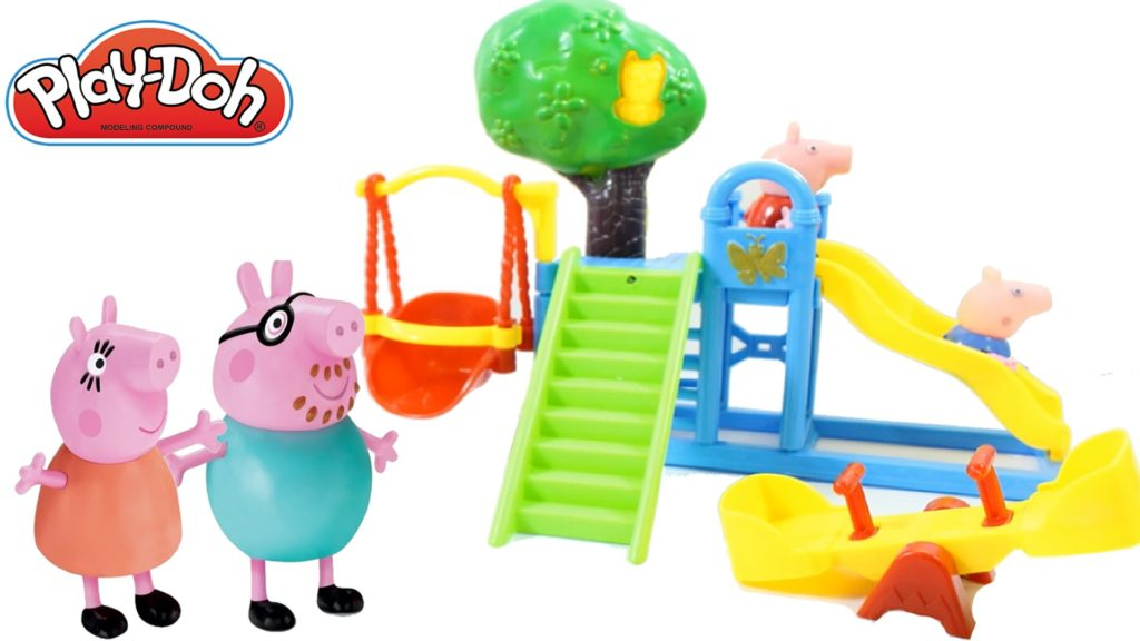 Play doh stop motion with peppa pig play football – slides toys videos