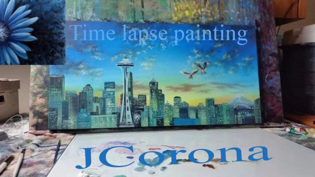 Seattle skyline paintings demonstration w/JCorona