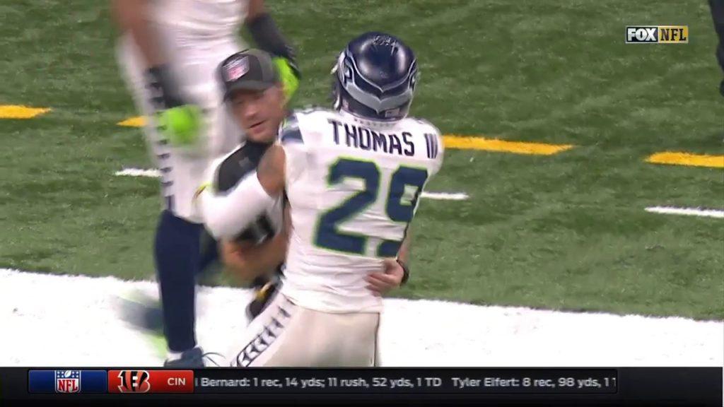 Proof the Seahawks PAY THE REFS?? Earl Thomas HUGS a referee LIVE Seahawks vs Saints 2016