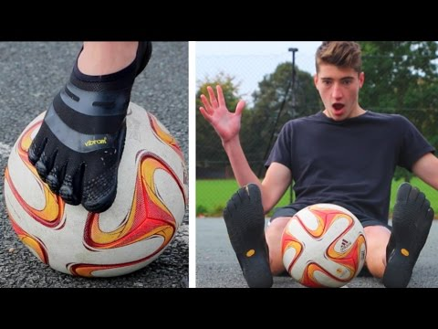 PLAYING FOOTBALL IN 'BAREFOOT' SHOES!! (Football Experiment)