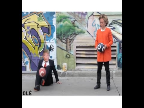 Donald Trump Vs Hillary' PLay football so fun' try to not Laugh 2016