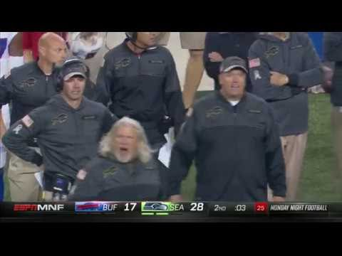 Fat Rex Ryan throwing a FIT after missed field goal Seahawks vs Bills 2016