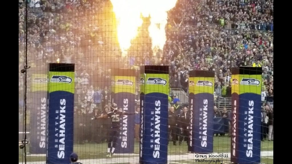 Seahawks/Eagles- Pre game introductions, National Anthem, Flyover.