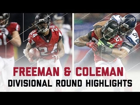 NFL 2016 Divisional Round Seahawks vs Falcons – Devonta Freeman & Tevin Coleman Highlights