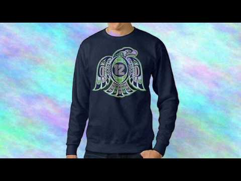Bestgifts Men's Seattle Sport Football Logo Crew Neck Hooded Sweatshirt Navy Size S