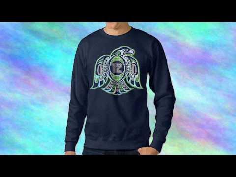 Bestgifts Men's Seattle Sport Football Logo Crew Neck Hooded Sweatshirt Navy Size L