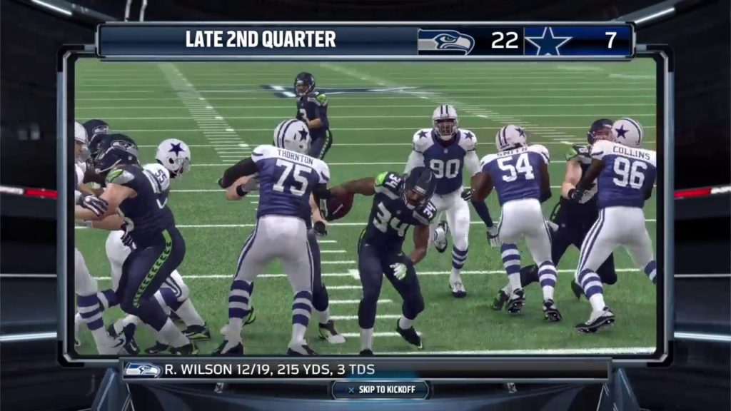 Madden NFL 16 Halftime highlights of Seahawks trouncing Cowboys