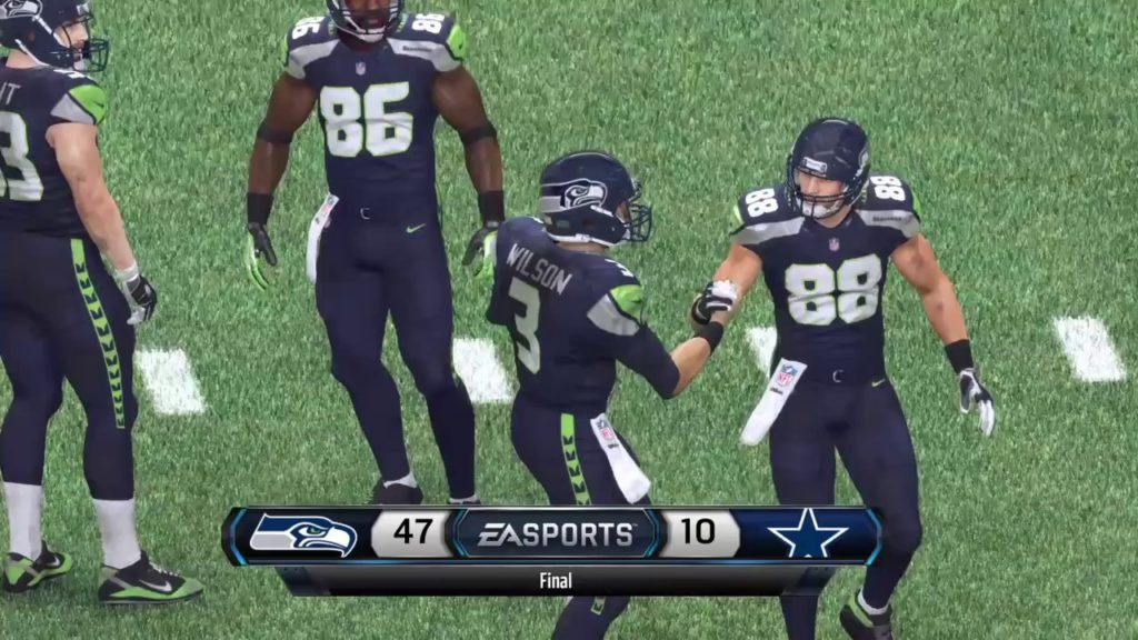 Madden NFL 16 post game highlights of Seahawks thrashing Cowboys