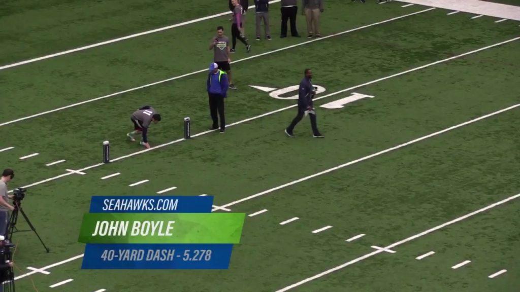 Seattle media running the 40 yard dash