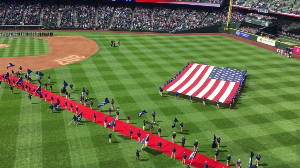 Seattle Mariners 17′ home opener national anthem w/ flyover