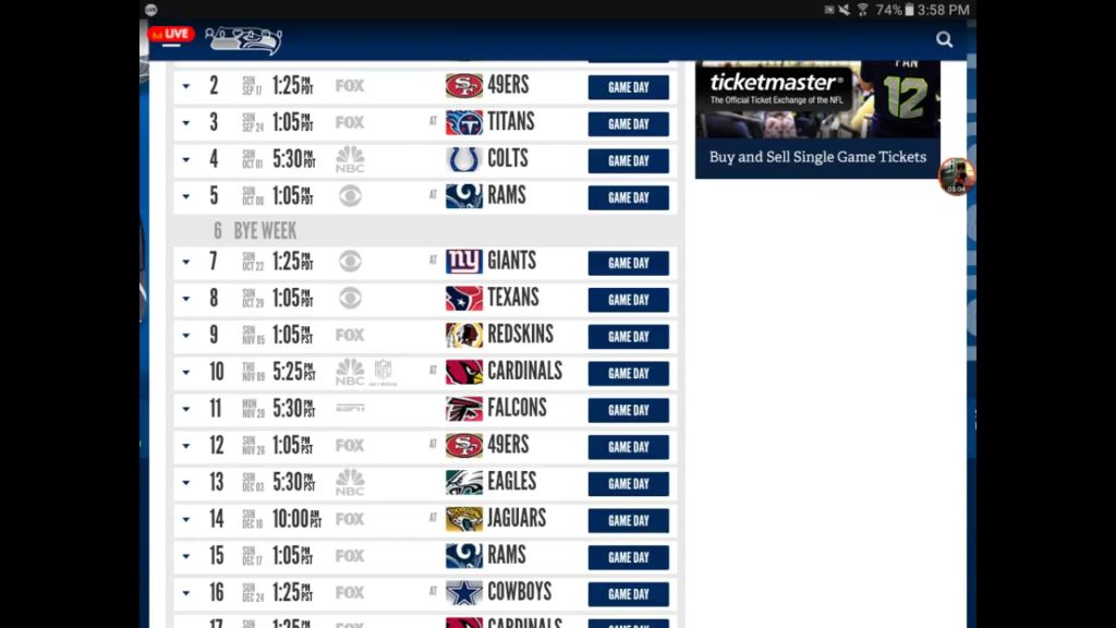 2017 Seahawks schedule predicton