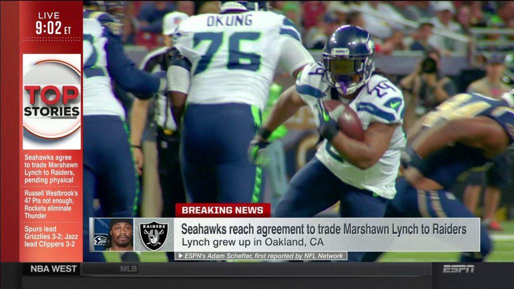 SportsCenter | Seahawks reach agreement to trade Marshawn Lynch to Raiders | Apr 26, 2017