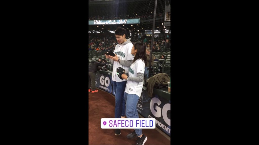 Naho throws out the first pitch at Seattle Mariners game