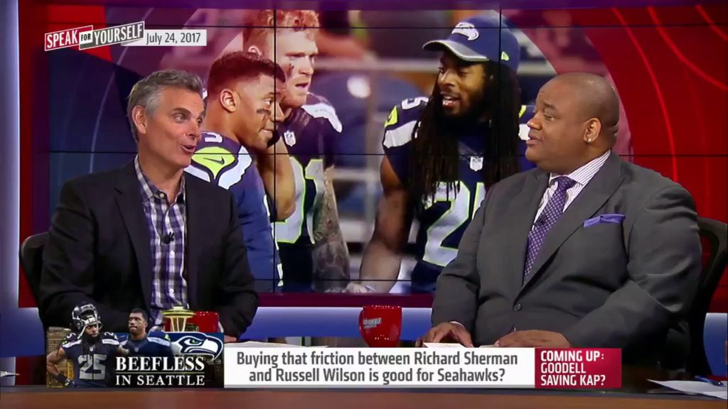 Buying that friction between Richard Sherman and Russell Wilson is good for Seahawks?   SFY