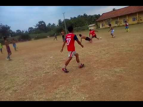 Football training in Cambodia Countryside, How to kick ball far from goal, Learn to play football 2