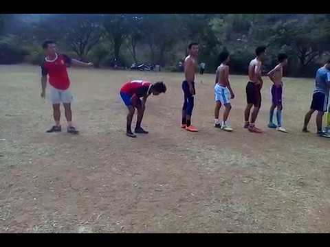 Football training in Cambodia Countryside, How to kick ball far from goal, Learn to play football