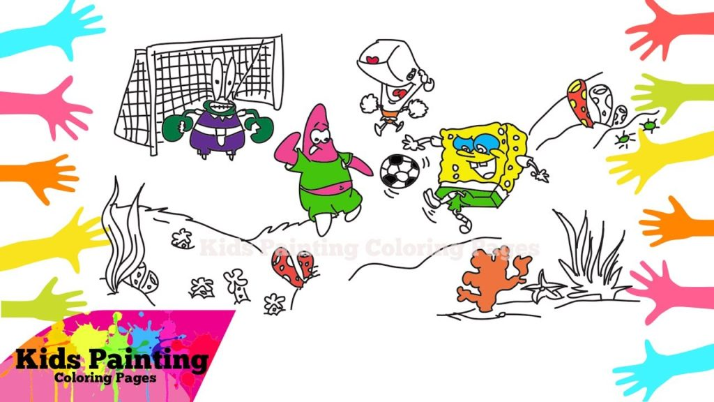 How to Draw SpongeBob SquarePants Play Football with Friends   SpongeBob SquarePants Coloring Page