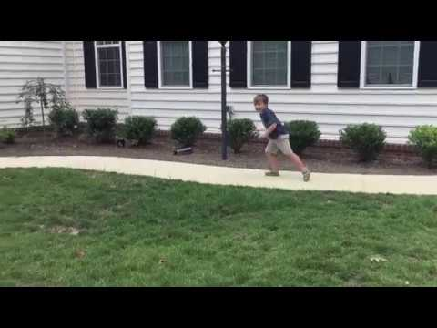 Teaching a 6 yr old how to play football (how to catch a running pass) part 3
