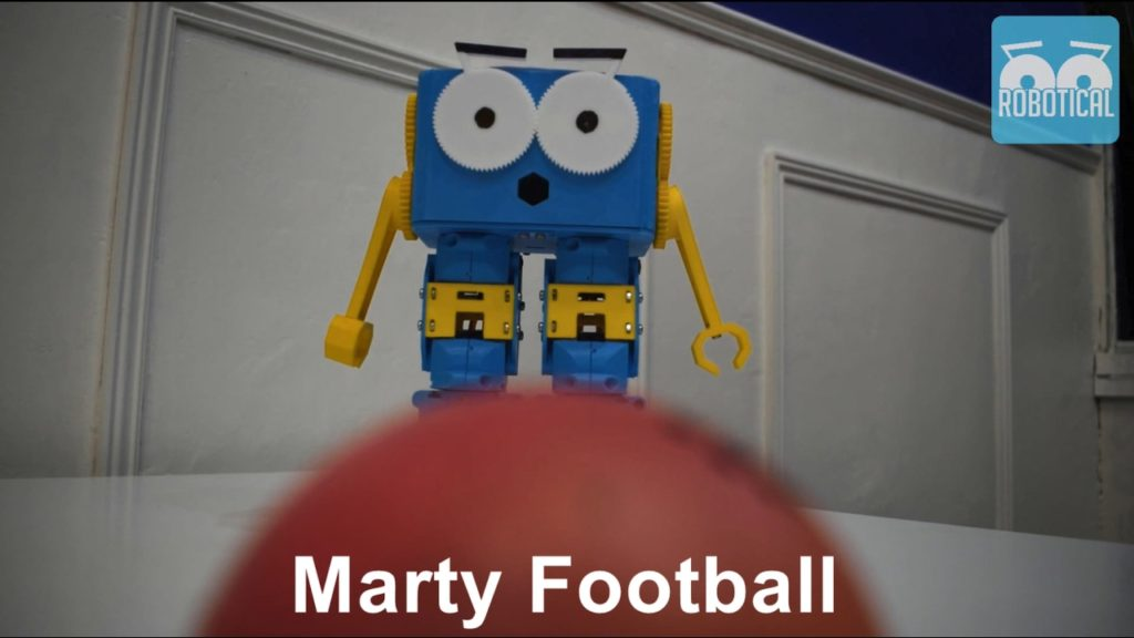 Teaching Marty the Robot to Play Football