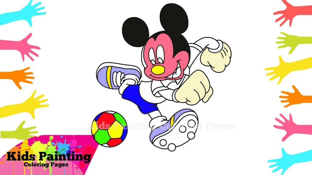 How to Draw and Colouring Mickey Mouse Play Football | Kids Painting Coloring Pages | Art Colouring