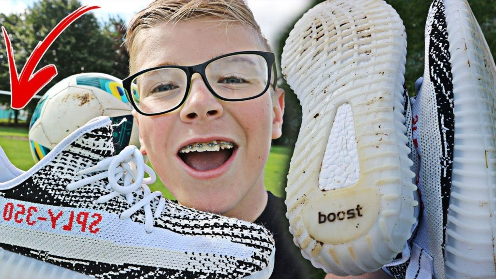 "PLAYING FOOTBALL IN FAKE YEEZY 350 BOOST V2 ""ZEBRA"" *$30*"
