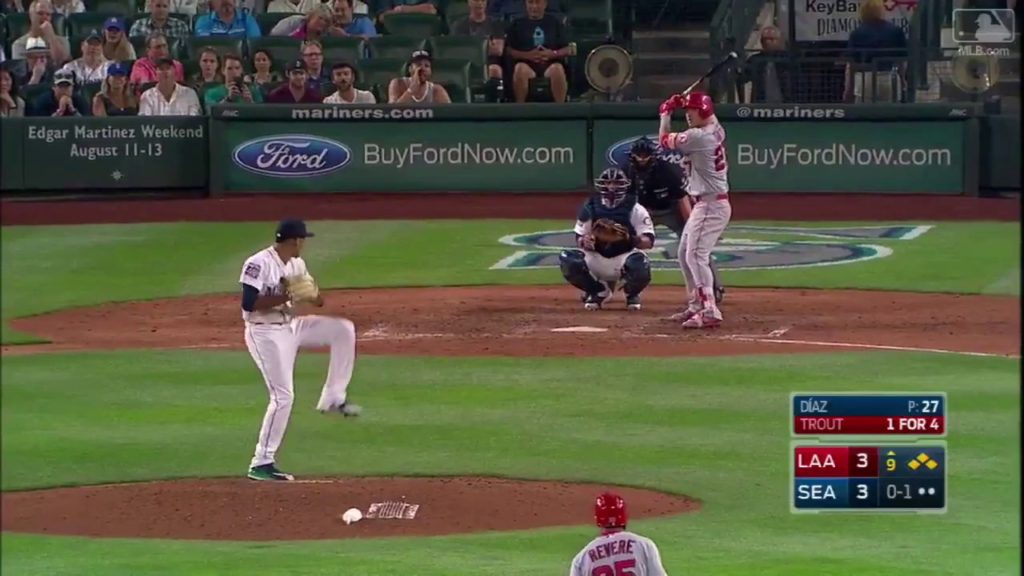Mike Trout Clears the Bases with a Go Ahead Double Vs Mariners