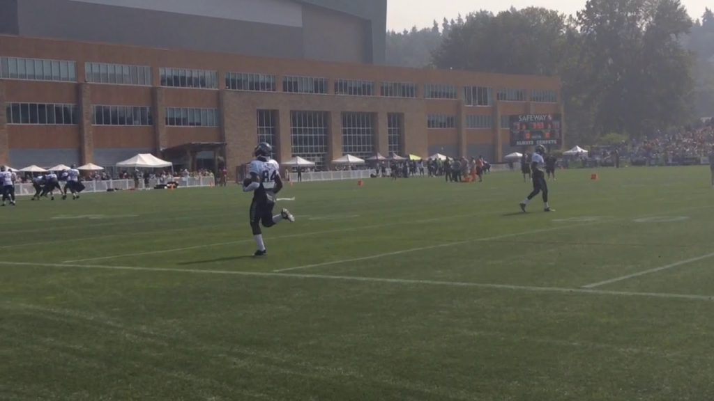 Seattle Seahawks QB Russell Wilson works on his passing during 2017 training camp